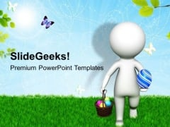 3d Man With Easter Basket On Grass PowerPoint Templates Ppt Backgrounds For Slides 0813