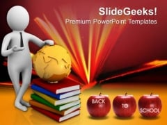 3d Man With Globe And Books PowerPoint Templates Ppt Backgrounds For Slides 0713