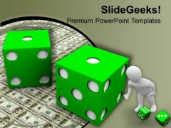 3d Man With Green Dice Marketing PowerPoint Templates Ppt Backgrounds For Slides 1212