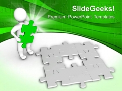 3d Man With Green Missing Jigsaw Puzzle PowerPoint Templates Ppt Backgrounds For Slides 0413