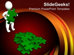 3d Man With Green Puzzles PowerPoint Templates And PowerPoint Themes 1012