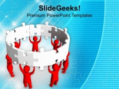 3d Man With Jigsaw Puzzles Teamwork PowerPoint Templates Ppt Backgrounds For Slides 0413