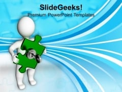 3d Man With Locked Jigsaw Puzzle Security PowerPoint Templates And PowerPoint Themes 1112