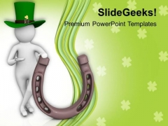 3d Man With Luck Of Irish Celebration PowerPoint Templates Ppt Backgrounds For Slides 0313