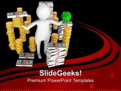 3d Man With Money Saving Concept PowerPoint Templates Ppt Backgrounds For Slides 0413