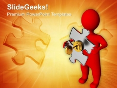 3d Man With Puzzle And Golden Key Business PowerPoint Templates And PowerPoint Themes 1012