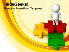 3d Man With Puzzle Jigsaw Business PowerPoint Templates And PowerPoint Themes 1012