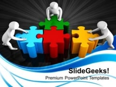 3d Man With Puzzle Jigsaw Business PowerPoint Templates And PowerPoint Themes 1112