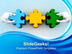 3d Man With Puzzle Teamwork PowerPoint Templates And PowerPoint Themes 0812
