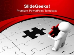 3d Man With Red Puzzle Strategy PowerPoint Templates Ppt Backgrounds For Slides 0413