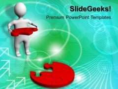 3d Man With Solution Puzzle Jigsaw PowerPoint Templates And PowerPoint Themes 1012