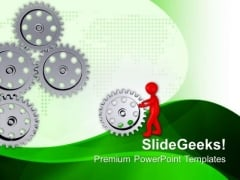 3d Man With Steel Gears PowerPoint Templates Ppt Backgrounds For Slides 0713