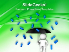 3d Man With Umbrella Exclamation Symbol PowerPoint Templates Ppt Backgrounds For Slides 0513