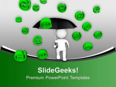3d Man With Umbrella To Show Technology PowerPoint Templates Ppt Backgrounds For Slides 0413