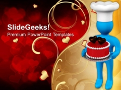 3d Man With Valentines Cake PowerPoint Templates Ppt Backgrounds For Slides 0213