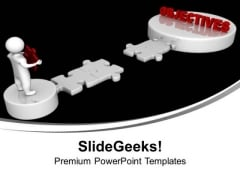 3d Men And Puzzle With Word Objectives PowerPoint Templates Ppt Backgrounds For Slides 1212