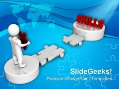 3d Men And Puzzle With Word Skills Business PowerPoint Templates And PowerPoint Themes 0912