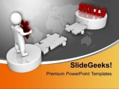 3d Men And Puzzle With Word Skills Business PowerPoint Templates Ppt Backgrounds For Slides 1112