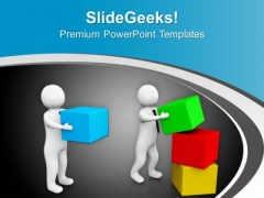 3d Men Arranging Cube Boxes PowerPoint Templates Ppt Backgrounds For Slides 0713