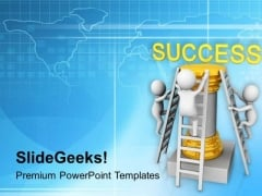 3d Men Climbing On Success Pillar PowerPoint Templates Ppt Backgrounds For Slides 0813