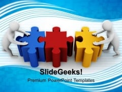 3d Men Connecting Puzzle Teamwork PowerPoint Templates And PowerPoint Themes 1012