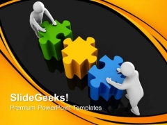 3d Men Connecting Puzzles PowerPoint Templates And PowerPoint Themes 0812