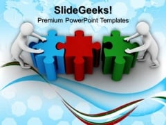 3d Men Forming Puzzle Business Team PowerPoint Templates And PowerPoint Themes 1012