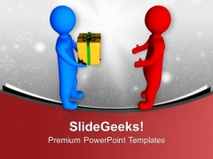 3d Men Giving Gift PowerPoint Templates Ppt Backgrounds For Slides 0213