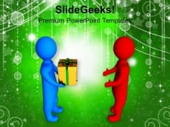 3d Men Giving Gift To Other Celebration PowerPoint Templates Ppt Backgrounds For Slides 1212