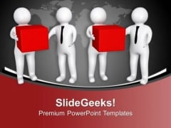 3d Men Giving Gift To Other Men PowerPoint Templates Ppt Backgrounds For Slides 0213