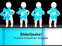 3d Men Holding Blue Team Puzzle Pieces Business PowerPoint Templates Ppt Backgrounds For Slides 1212