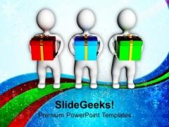 3d Men Holding Gift Box Celebration PowerPoint Templates Ppt Backgrounds For Slides 1212