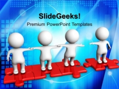 3d Men Holding Hands Puzzle Pieces PowerPoint Templates And PowerPoint Themes 1012