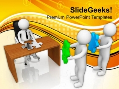 3d Men Holding Puzzle Pieces PowerPoint Templates Ppt Backgrounds For Slides 0713