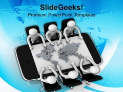 3d Men In Meeting With World Map PowerPoint Templates Ppt Backgrounds For Slides 0813