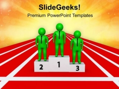 3d Men On Winning Podium PowerPoint Templates Ppt Backgrounds For Slides 0813