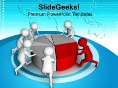 3d Men Pushing Pie Chart Teamwork PowerPoint Templates Ppt Backgrounds For Slides 0813