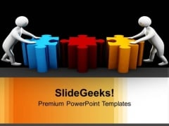 3d Men Pushing Puzzle Pieces Team PowerPoint Templates Ppt Backgrounds For Slides 0213
