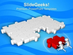 3d Men Pushing Puzzles For Solution PowerPoint Templates Ppt Backgrounds For Slides 0713
