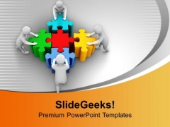 3d Men Pushing Puzzles Team Effort PowerPoint Templates Ppt Backgrounds For Slides 0213