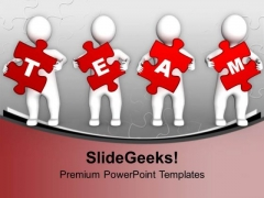 3d Men Red Puzzle Pieces Team PowerPoint Templates Ppt Backgrounds For Slides 0213
