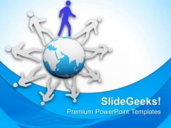 3d Men Running Around The World PowerPoint Templates Ppt Backgrounds For Slides 0813