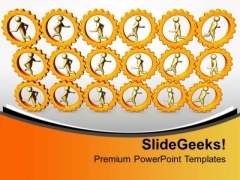 3d Men Running In Gears Mechanisml PowerPoint Templates Ppt Backgrounds For Slides 0313