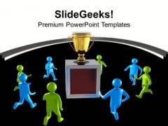 3d Men Running Towards Golden Trophy Business PowerPoint Templates Ppt Backgrounds For Slides 1212
