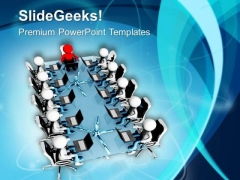 3d Men Sitting In Conference Room PowerPoint Templates Ppt Backgrounds For Slides 0713