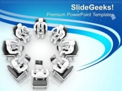 3d Men Sitting In Meeting With Laptops PowerPoint Templates Ppt Backgrounds For Slides 0713