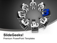3d Men Sitting On Chairs In Conferance PowerPoint Templates Ppt Backgrounds For Slides 0213