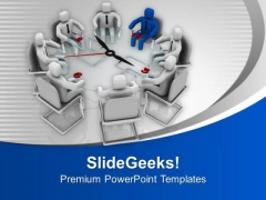 3d Men Sitting On Conference Table Meeting PowerPoint Templates Ppt Backgrounds For Slides 0213