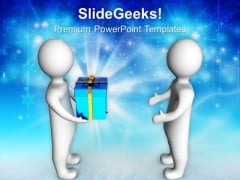 3d Men Taking Gift From Other Celebration PowerPoint Templates Ppt Backgrounds For Slides 1212