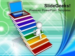 3d Men Walking On Books And Laptop Technology PowerPoint Templates Ppt Backgrounds For Slides 1212